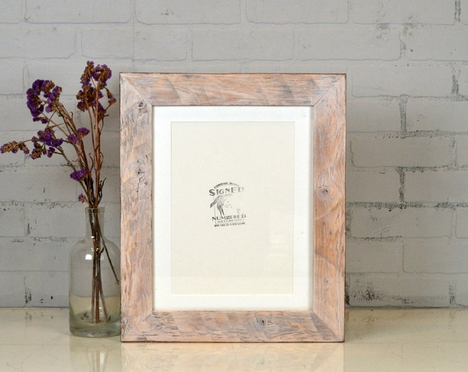 11x14 Picture Frame in Reclaimed Pine with Vintage White Wash Finish - Upcycled Reclaimed Wood Frame for 11x14 inch Photo