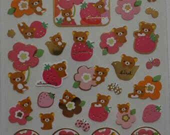 San-X Rilakkuma Bear Sticker Sheet - Strawberry & Flowers - SE11601