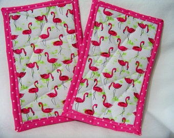 PK Quilted Plate Pad Set in Flamingo Flock - Pot Holders - Hot Pad - Plate Pads - Set of Two - Ready To Ship