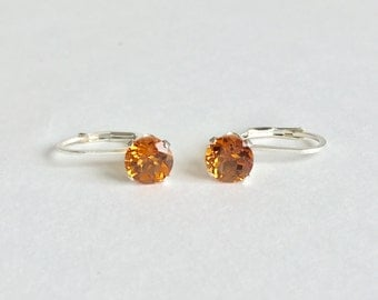 Madeira Citrine 6mm 1.55ctw Sterling Silver Leverbacks