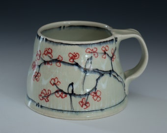 Mug Cherry Blossom Arches and Pinstripes Bird Blue Mug