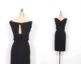 Vintage 1960s Dress / 60s Little Black Cocktail Dress / Backless ( small S )