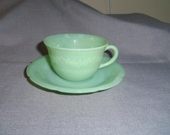 Fire King Jadeite Jadite Cup and Saucer in the Alice Pattern (1945 - 1949) Floral Flower Pattern