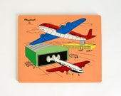 Vintage 1960s Playskool Airport Wood Frame Tray 14 Piece Puzzle #360-3 / Collectible Toy Transportation Planes Aviation