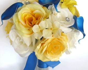"""Reserved listing 13 piece package Wedding Bridal bouquet Silk flowers bouquets YELLOW ROYAL CALLA Lily Weddings Centerpiece """"RosesandDreams"""""""