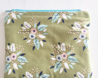 The Happy Pouch: The Olive Flowers- Oil Pouch, Planner Pouch, Makeup Pouch, Zipped Pouch