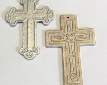 2 Ornamental Crosses Gilded Cast Iron 5 Inches Tall Silver and Gold