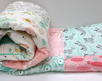 Modern Baby Quilt, Woodland Baby Girl Bedding, Aqua-Pink and Mint Blue-Fox-Bear-Buck-Antler Baby Blanket