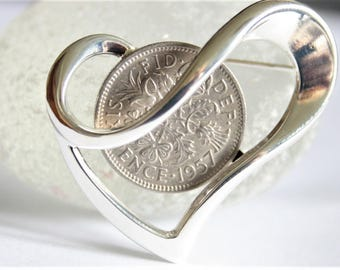 60th birthday gift for women. Sixpence brooch. Birthday brooch. 1957 Birth year brooch. Heart brooch. 60th birthday gift for a woman