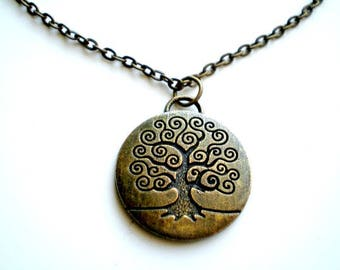 Tree of Life Antique Brass Necklace