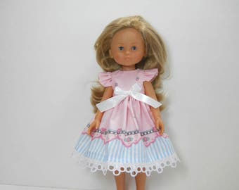 13 inch doll clothes made to fit dolls such as Corolle Les Cheries doll clothes, Pink Dress, 03-1975
