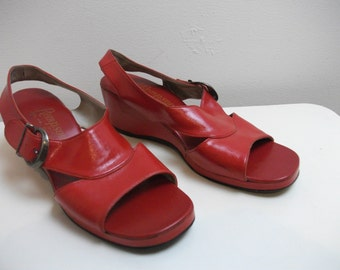 Red Leather 60s Wedge Sandals, Size 6.5