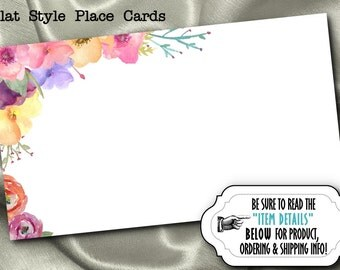 10 Flat Style Place Cards, Name Cards, Buffet Table Food Labeling Cards, Baby Shower, Wedding, Bridal Shower, Birthday, Watercolor Florals