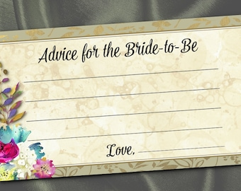 10 Bride To Be Advice Cards, Party Activity Game Cards, Bridal Shower Game, Watercolor Florals, Flowers, Gold, Fuchsia, Turquoise