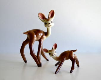 Vintage Mid Century Deer Doe Fawn Ceramic Figurines Set of Two