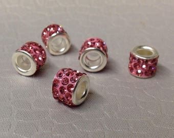 European style PINK Rhinestone Bling beads little lot of Five Mix and Match add to bracelet (NOT INCLUDED)