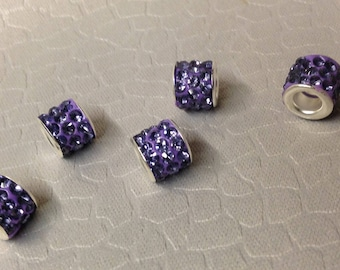 European style Purple colored Rhinestone Bling beads little lot of Five Mix and Match add to bracelet (NOT INCLUDED)