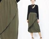 20% Off SALE 80s 90s Silk Wrap Skirt Vintage Brown Olive Green Silk Skirt 1980s Tulip Skirt High Waist Skirt Midi Knee Length Minimal Silk S