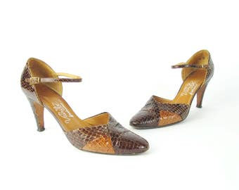 1970s Mary Jane Heels Brown Leather Snake Skin Heels Ankle Strap Heels Dancing Heels Brown High Heels Vintage Retro Pumps Size 9 N E565