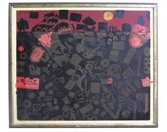 Marjory Koster ''Life Is Hard'' Artist's Proof 30 x 28 inch Printmaking Art 1969