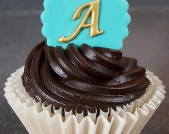 "Monogrammed Cupcake Toppers 1.5""  Edible Cupcake Decoration, Fondant Cupcake Topper, Unique Wedding Cupcakes, Lux Wedding Cupcake"