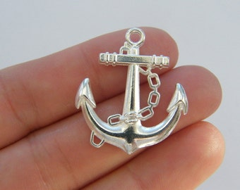 6 Anchor charms silver plated SC114