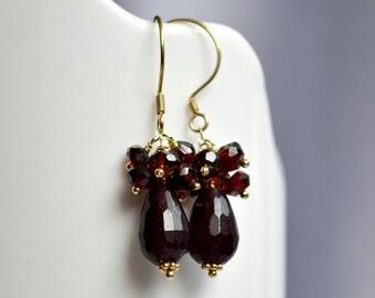Cluster garnet earrings, romantic jewelry, vermeil earrings, handmade earrings
