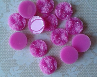 12- Pink Resin Druzy Beads 12mm - Set of 12 -Drusy Cabochon Ready to Ship , Jewelry Supplies,No Drilled Holes