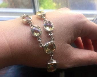 Citrine Necklace - Sterling Silver - Vintage