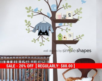 Holiday Sale - Tree Wall Decal - Shelving Tree Decal with Birds - Three Colors, Birds Wall Decal, Baby Nursery Wall Decal
