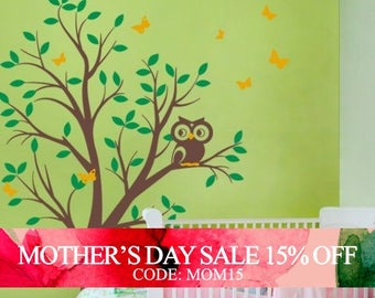 Mothers Day Sale - Tree with Owl and Butterflies - Children's Vinyl Wall Sticker