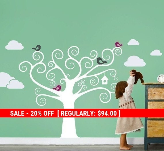 Holiday Sale - Swirly Tree with Cute Birds Decal - Kids Vinyl Wall Sticker
