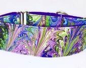 Martingale Collar, Purple Swirl Martingale, Greyhound Collar, Marble Design, Whippet, Collar, Wide Collar, Girl Dog Collar