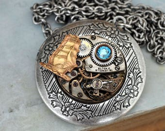 steampunk locket, boat locket, steampunk necklace, JOURNEY TILL End Of TIME, vintage watch movement necklace in antiqued silver