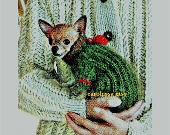Vintage Chihuahua Teacup Dog Sweater Knitting Pattern Turtleneck/Puppy Mod Jacket