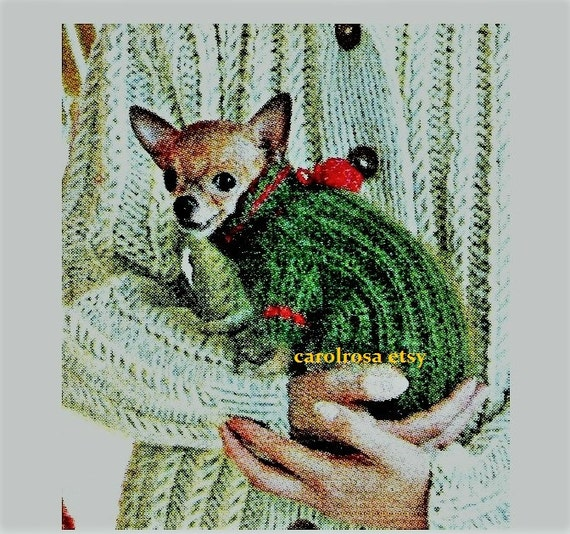Knitting Pattern For Teacup Dog : Vintage Chihuahua Teacup Dog Sweater Knitting Pattern