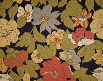 Outdoor OLIVE ORANGE & GOLD on Black Upholstery Fabric, 36-60-06-0514