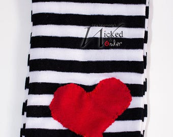 Alice in Wonderland Black and White striped tights with or Without Heart Knee patch. Alice tights red black and white