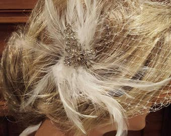 Rhinestone and feathers accent Fascinator  Hairpiece. Ready to ship. USA  handcrafted.