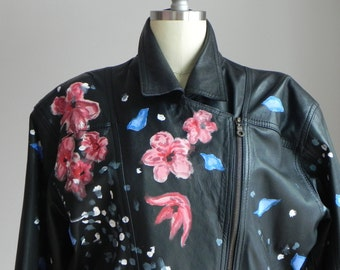 hand painted, floral, black moto jacket, women's size large