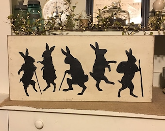 Vintage Rabbits, Vintage Decor, Primitive Decor, Easter Decoration, Primitive Decor, Rabbit Sign, Spring Decor