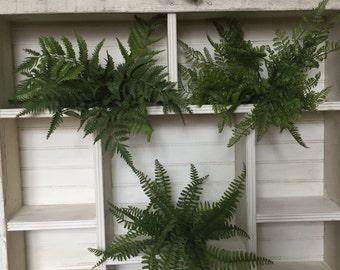 "Set of 3-GORGEOUS 15"" FERNS --LUSH & Beautiful- quality Artificial Fern Bushes"