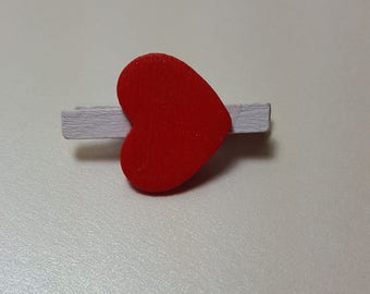 12 - Red Heart White Mini Clothespins Clasp Wrapping Decorating Closure Pin Clip