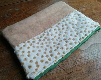 Clutch made with upholstery fabric remnant and faux suede remnant - Amy Butler print for the lining