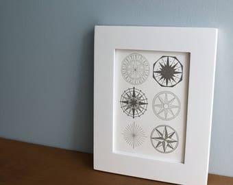 Compass Roses, Letterpress Art Print
