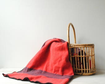 Vintage Wool Blanket, Red and Black Camp Blanket, Small Blanket