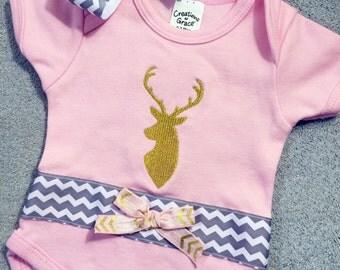 Pink onesie, one-piece, deer, tribal gold deer, Gold deer pink Onesie, Bodysuit, chevron hair bow  custom handmade to order