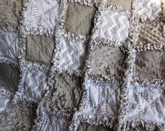 Rag quilt, baby girl rag quilt, baby boy rag quilt,  gray minky, gray polka dots, zoo animals, chevron, elephant, zebra