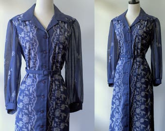 1960s Dress 1960s Clothing Navy Blue Shift 60s Clothes Embroidered Summer Dresses for Womens Large Blue Dresses Button Down Sheer Sleeves LG