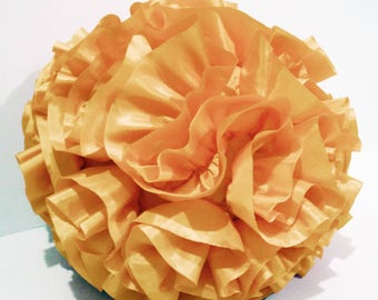 light gold ruffled filled  round pouf fluffy cushion gold pillow designer pillow in a round 16 inch diameter
